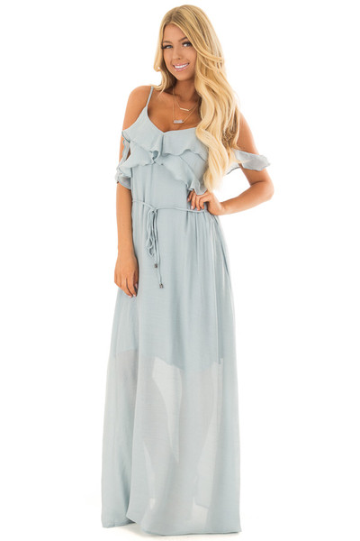 Sky Blue Maxi Dress with Ruffle Cold Shoulders and Waist Tie front full body