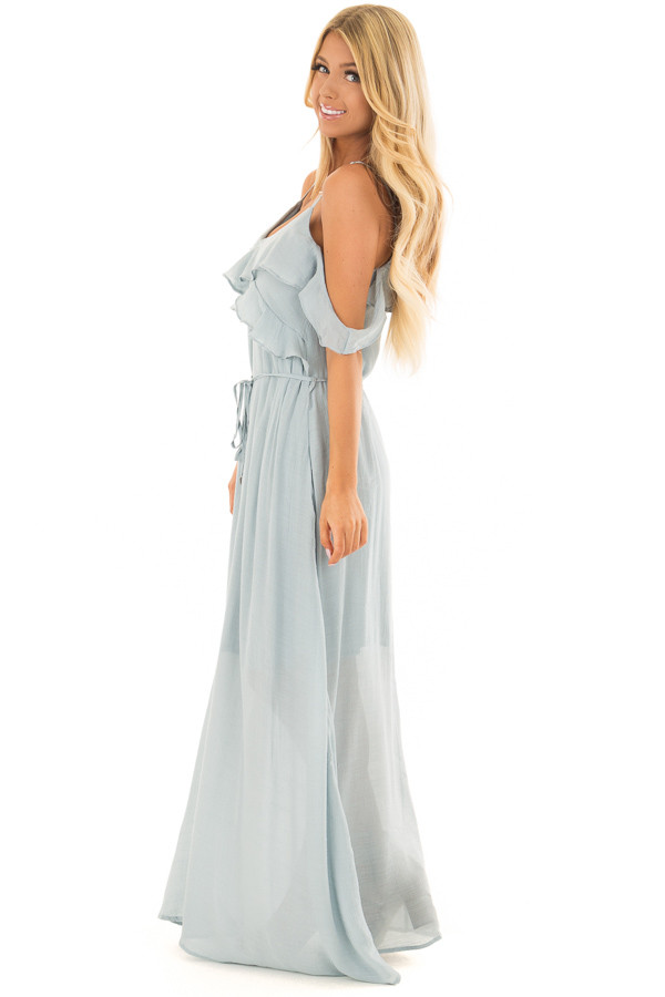 Sky Blue Maxi Dress with Ruffle Cold Shoulders and Waist Tie side full body