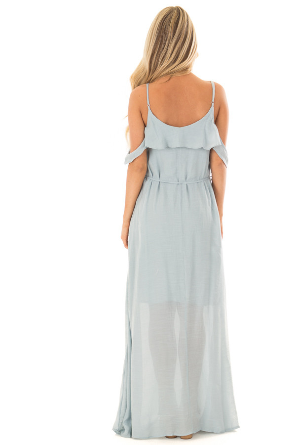 Sky Blue Maxi Dress with Ruffle Cold Shoulders and Waist Tie back full body