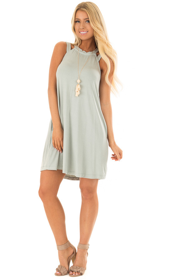 Mint Cutout Halter Shift Dress with Side Pockets - Lime Lush Boutique