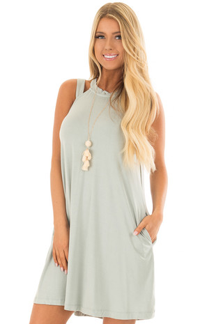 Mint Cutout Halter Shift Dress with Side Pockets front close up