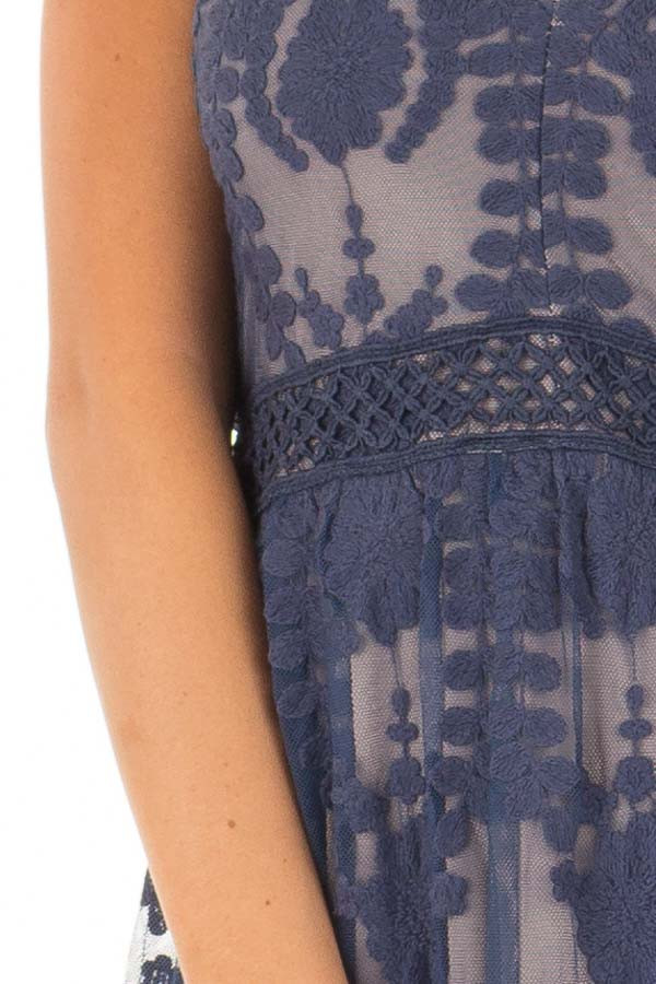 Navy Maxi Dress with Navy Floral Design detail