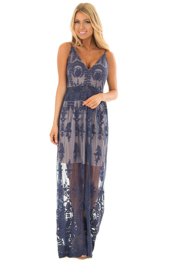 Navy Maxi Dress with Navy Floral Design front full body