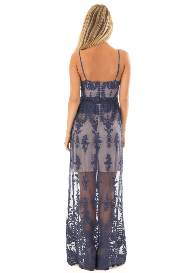 Navy Maxi Dress with Navy Floral Design back full body