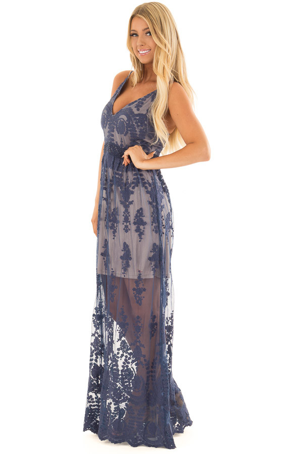 Navy Maxi Dress with Navy Floral Design side full body