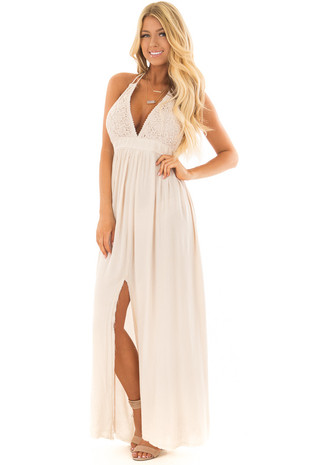 Natural Halter Top Maxi Dress with Lace Details front full body