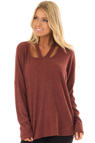 Brick Ribbed Top with V Band Neckline front close up