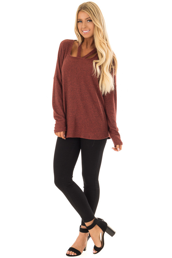 Brick Ribbed Top with V Band Neckline front full body