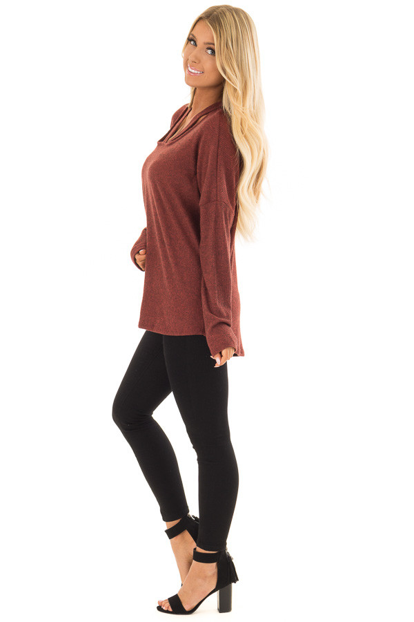 Brick Ribbed Top with V Band Neckline side full body