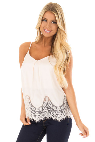 Light Blush Satin Tank Top with Lace Trim front close up