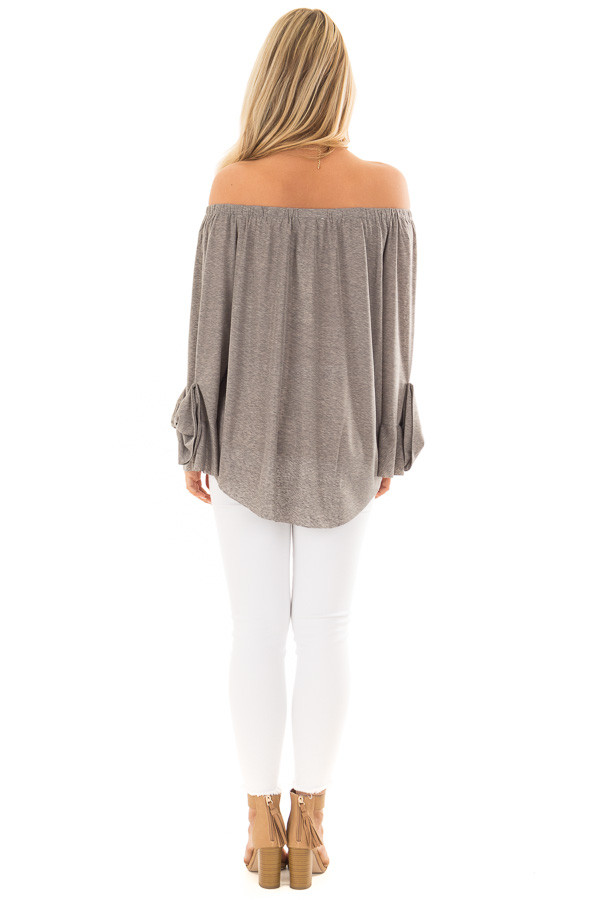 Cool Grey Off the Shoulder Top with Bow Sleeve Detail back full body