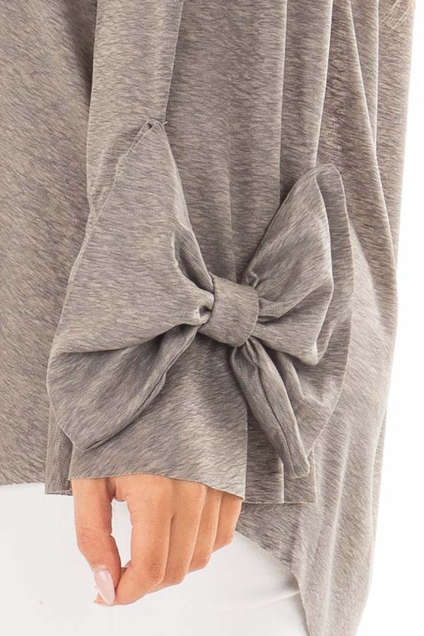Cool Grey Off the Shoulder Top with Bow Sleeve Detail detail
