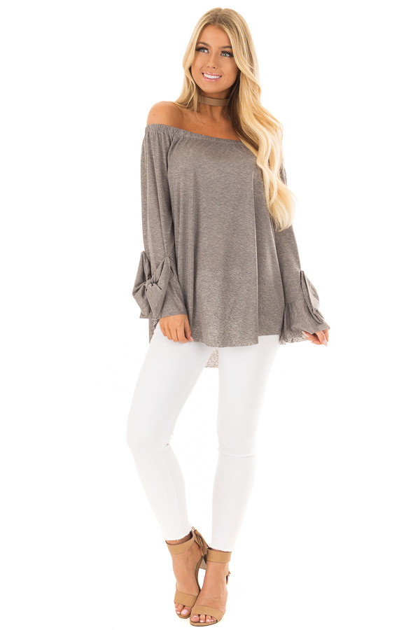 Cool Grey Off the Shoulder Top with Bow Sleeve Detail front full body