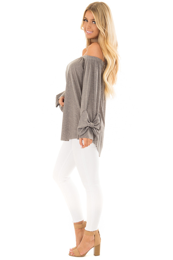 Cool Grey Off the Shoulder Top with Bow Sleeve Detail side full body