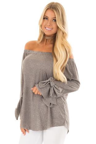 Cool Grey Off the Shoulder Top with Bow Sleeve Detail front close up