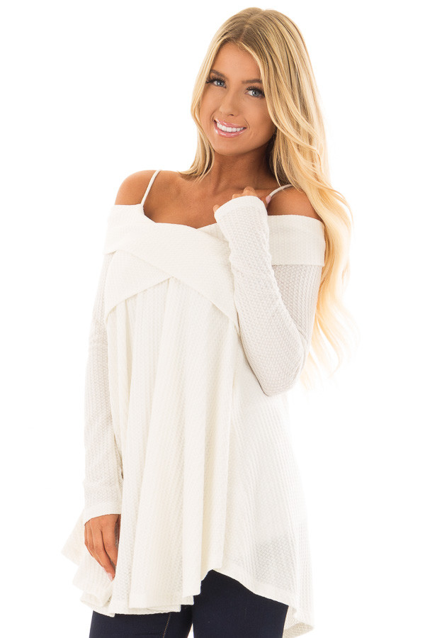 Off White Waffle Knit Criss Cross Top with Bare Shoulders front close up