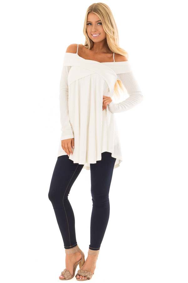 Off White Waffle Knit Criss Cross Top with Bare Shoulders front full body