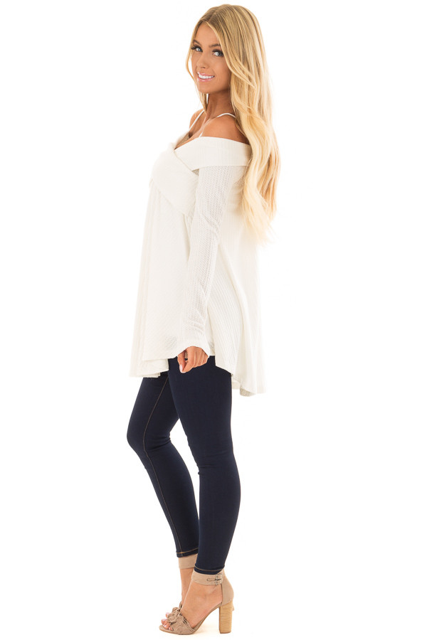 Off White Waffle Knit Criss Cross Top with Bare Shoulders side full body