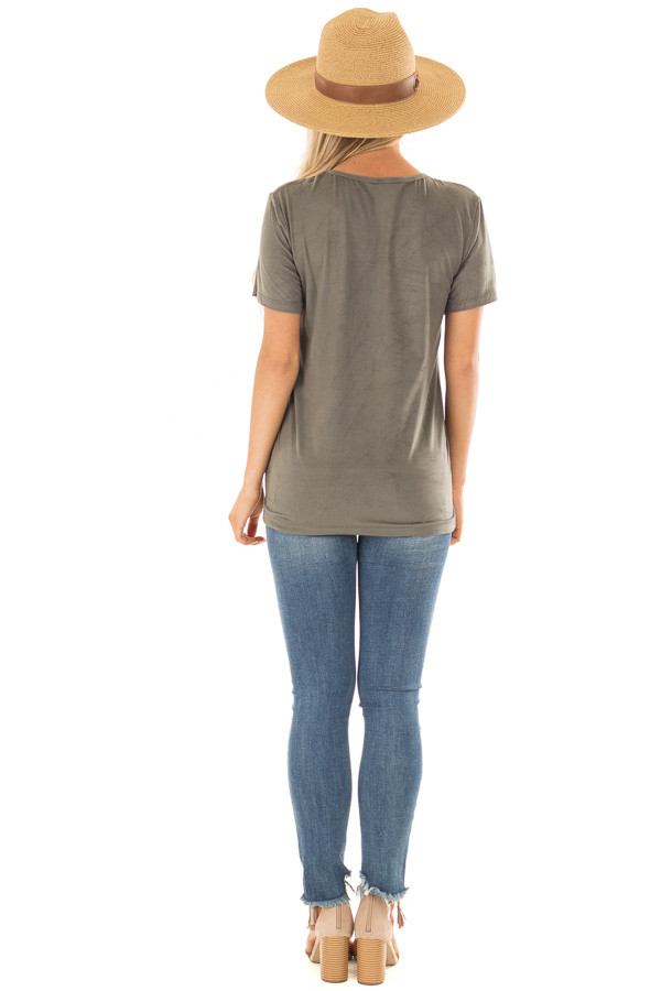 Olive Faux Suede Criss Cross Strap V Neck Top back full body