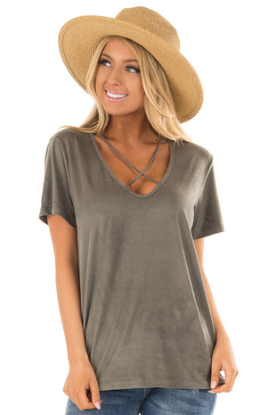 Olive Faux Suede Criss Cross Strap V Neck Top front close up