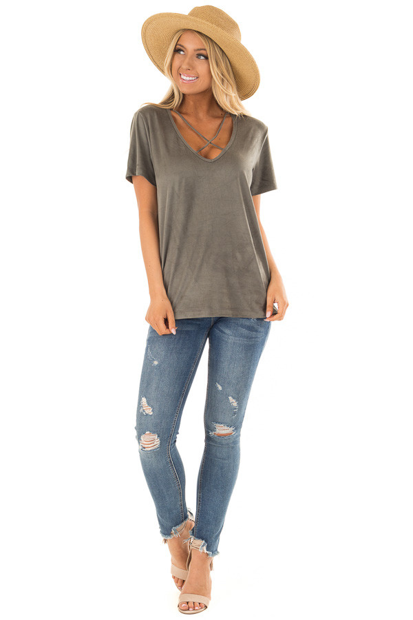 Olive Faux Suede Criss Cross Strap V Neck Top front full body