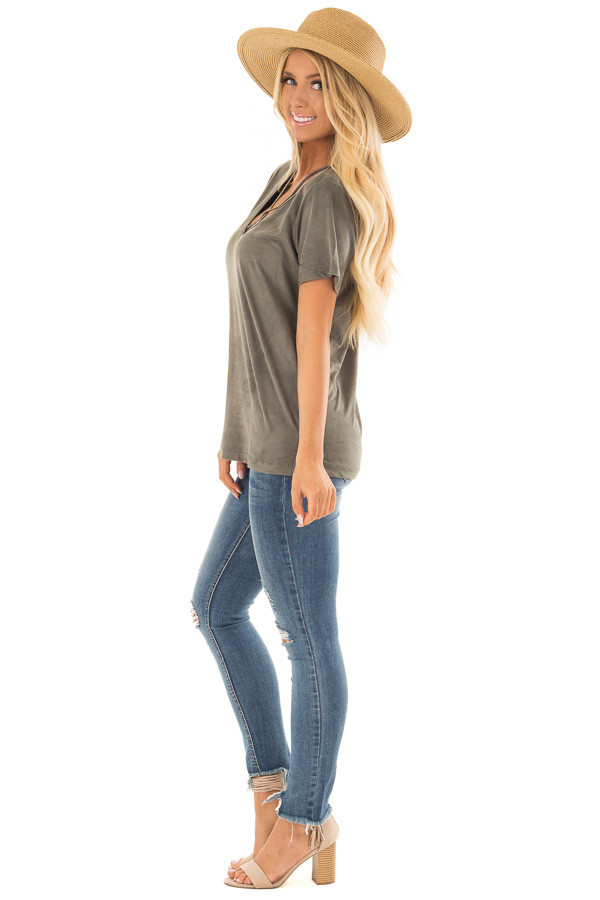 Olive Faux Suede Criss Cross Strap V Neck Top side full body