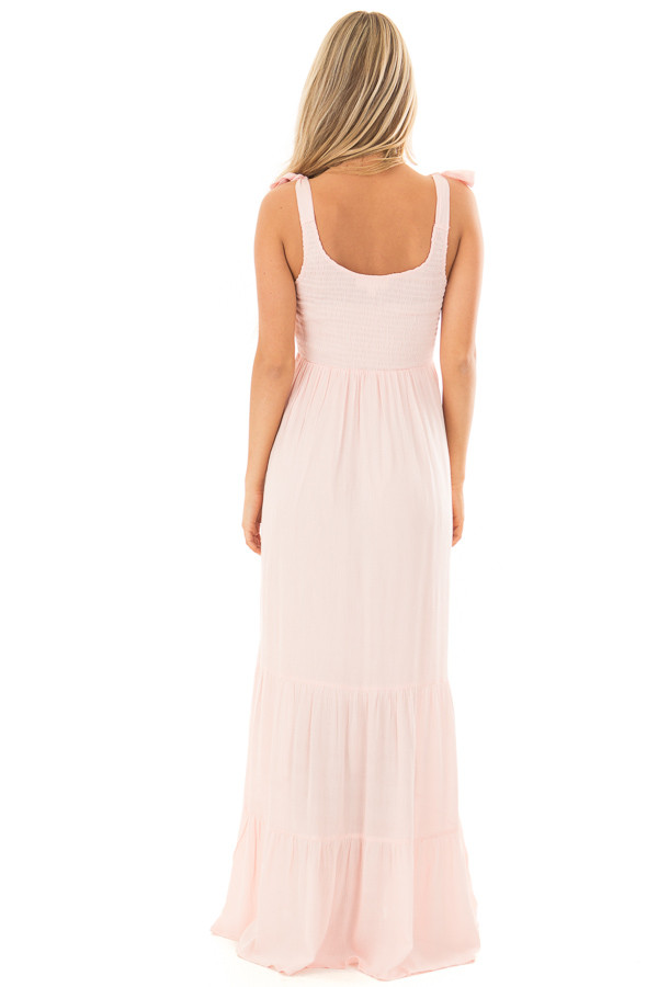 Baby Pink Maxi Dress with Tie Strap Detail back full body