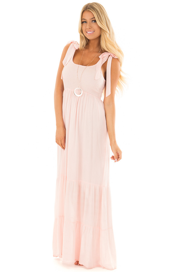 Baby Pink Maxi Dress with Tie Strap Detail front full body