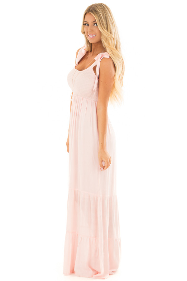 Baby Pink Maxi Dress with Tie Strap Detail side full body