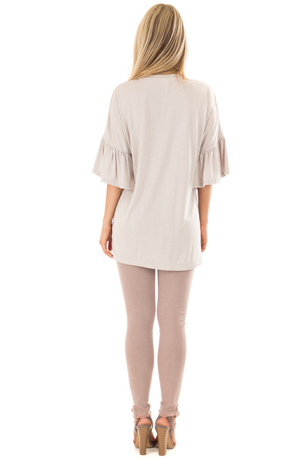 Seashell Grey Oversized Comfy Top with Butterfly Sleeves back full body