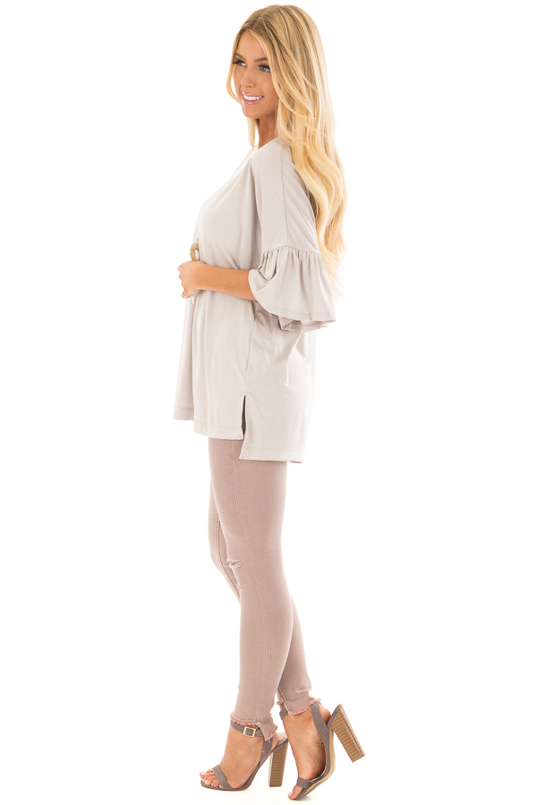 Seashell Grey Oversized Comfy Top with Butterfly Sleeves side full body
