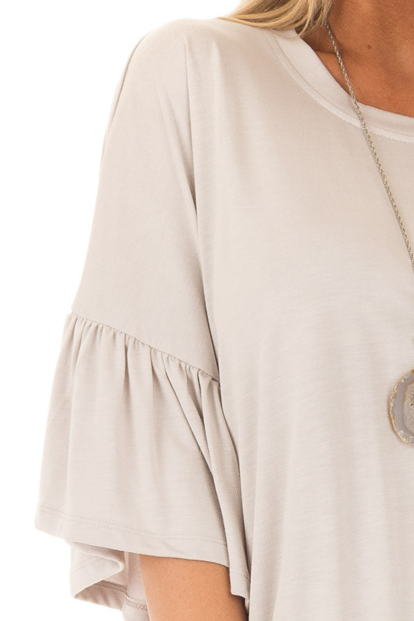 Seashell Grey Oversized Comfy Top with Butterfly Sleeves detail