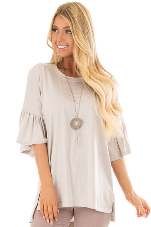 Seashell Grey Oversized Comfy Top with Butterfly Sleeves front close up