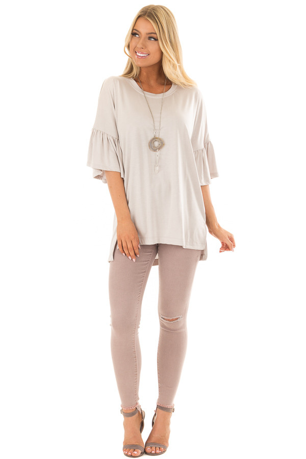 Seashell Grey Oversized Comfy Top with Butterfly Sleeves front full body