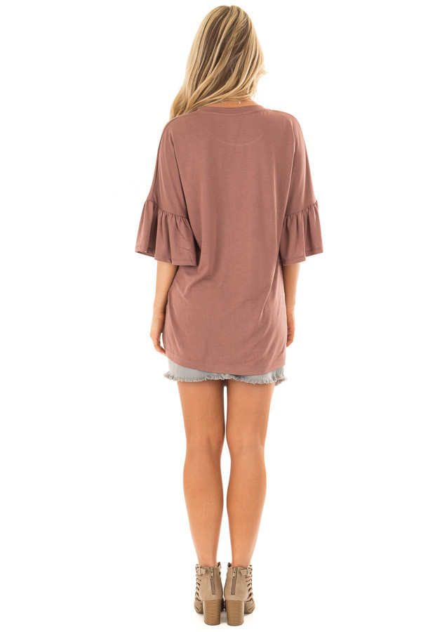Burl Wood Oversized Comfy Top with Butterfly Sleeves back full body