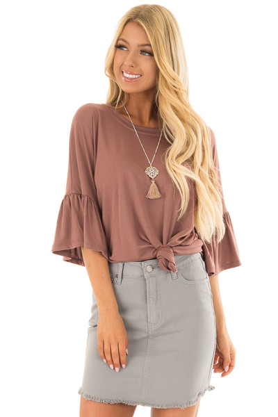 Burl Wood Oversized Comfy Top with Butterfly Sleeves front close up
