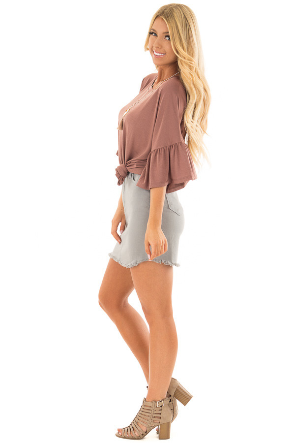 Burl Wood Oversized Comfy Top with Butterfly Sleeves side full body
