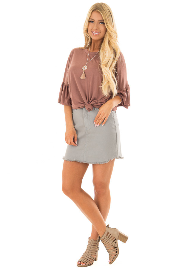 Burl Wood Oversized Comfy Top with Butterfly Sleeves front full body