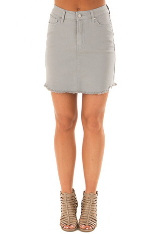 Dusty Mint Denim Skirt with Raw Hem front view