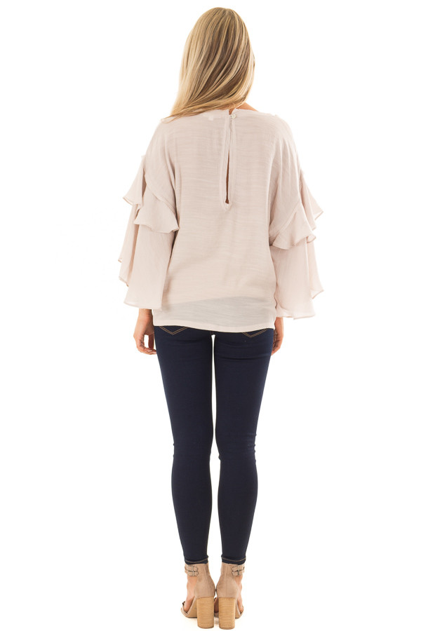 Cream Boatneck Top with Oversized Flowy Sleeves back full body