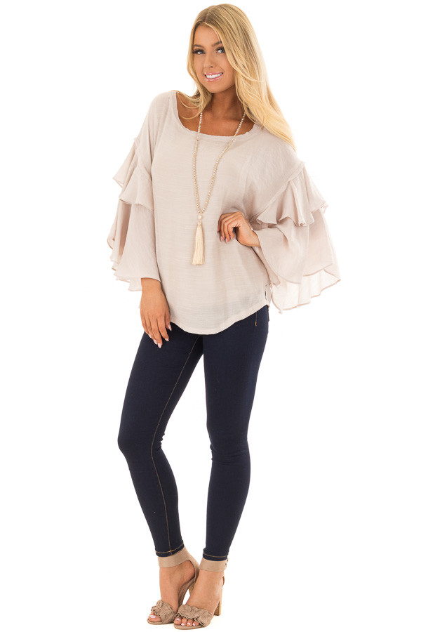 Cream Boatneck Top with Oversized Flowy Sleeves front full body