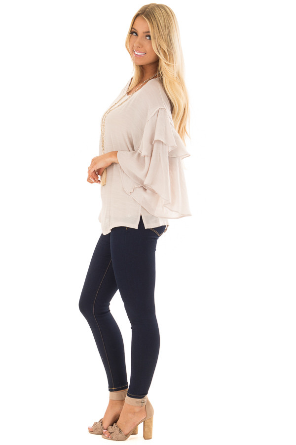 Cream Boatneck Top with Oversized Flowy Sleeves side full body