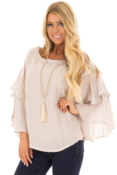 Cream Boatneck Top with Oversized Flowy Sleeves front close up