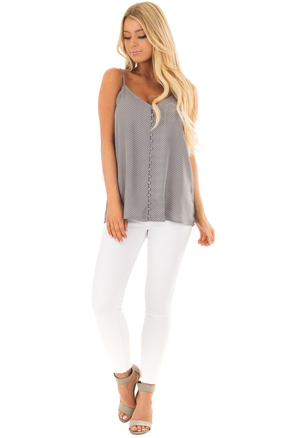 Charcoal Polka Dot Button Up Tank Top front full body