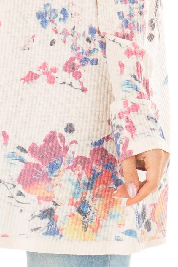 Cream Floral Open Front Cardigan detail