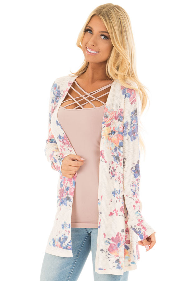 Cream Floral Open Front Cardigan front close up