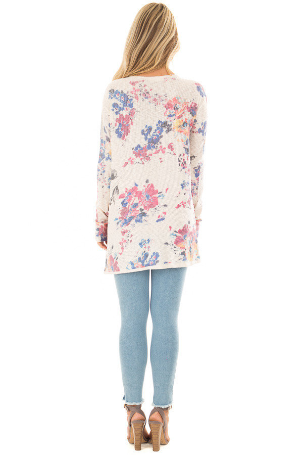 Cream Floral Open Front Cardigan back full body