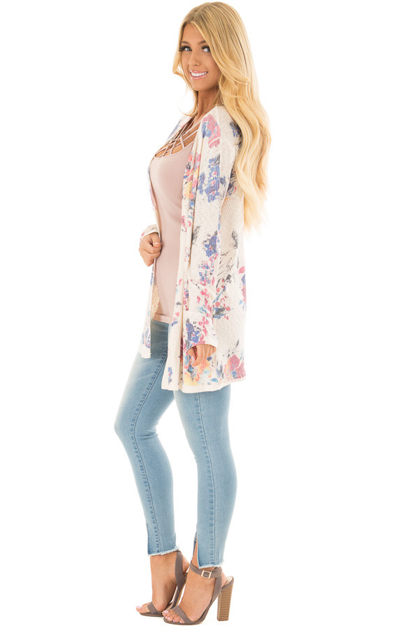 Cream Floral Open Front Cardigan side full body