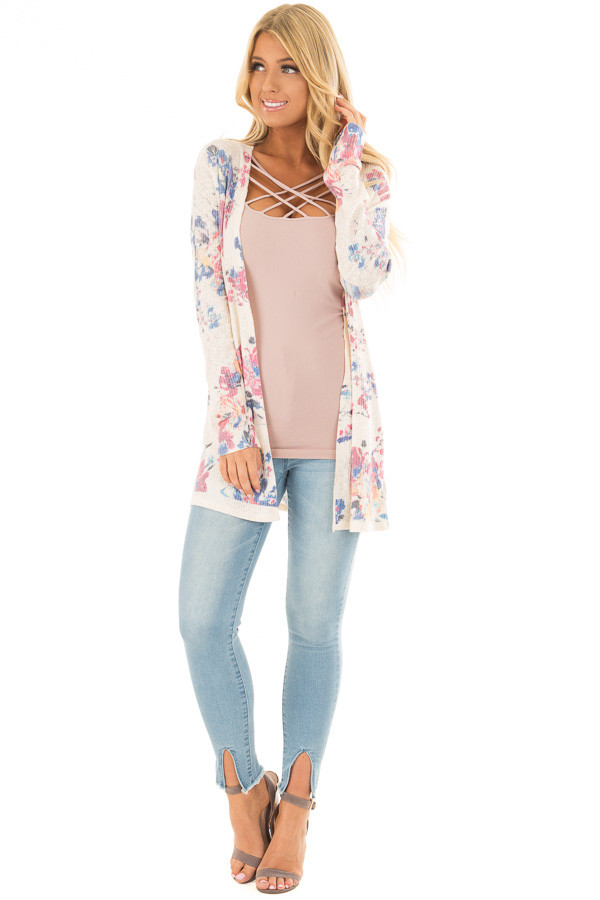 Cream Floral Open Front Cardigan front full body