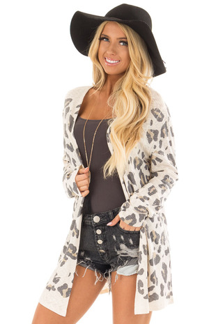 Cream Leopard Print Open Cardigan front close up